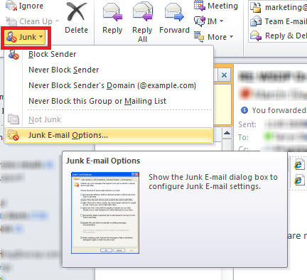 Outlook email filtering instructions Step 2