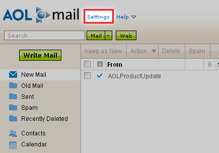 AOL email filtering instructions Step 1