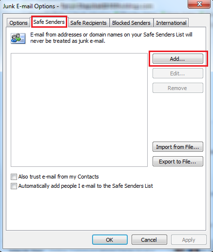 Outlook email filtering instructions Step 3